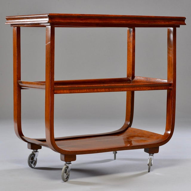 Glass English Wooden Bar Cart or Tea Trolley With Removable Glass Tray For Sale - Image 7 of 8