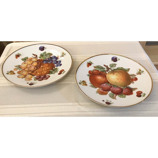 Very nice pair of German Bavarian China fruit plates with gold trim! Marked Debra Bavaria Germany 6496 68 on back.