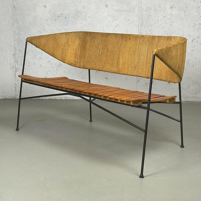 An exceptional museum-quality example of American Modern design from the 1950s - beautiful Minimalist settee designed by...