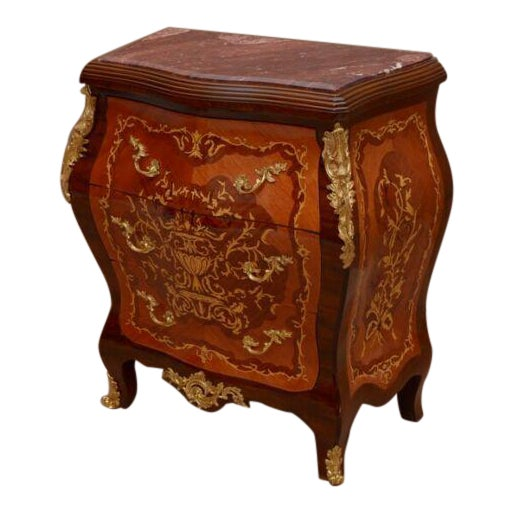 Louis XV Style Marquetry Commode With Marble Top For Sale