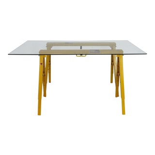 Industrial Metal & Glass Dining Table