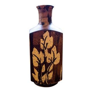 1970s Boho Chic Pacific Stoneware Vase For Sale