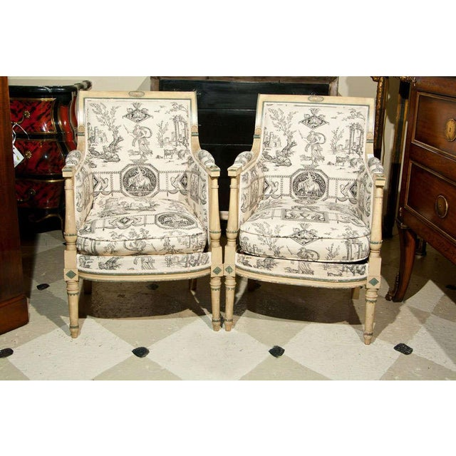 Pair of newly upholstered French Directoire style chairs, circa 1930's. Poly chromed frame in original paint, by Maison...
