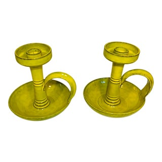 1960s Mid Century Italian Faience Terra Cotta Yellow Glazed Candlesticks - a Pair For Sale