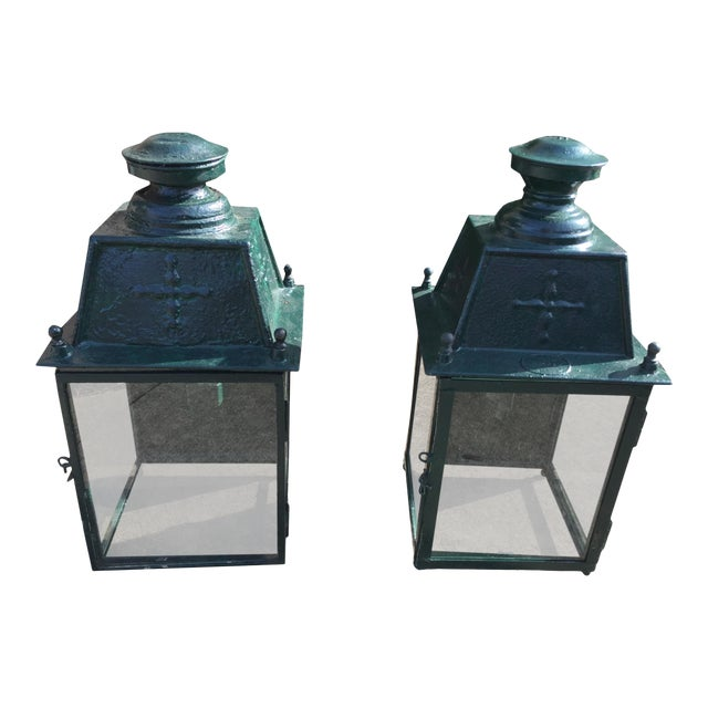 French Green Metal Exterior Wall Lantern, C.1900 - a Pair For Sale