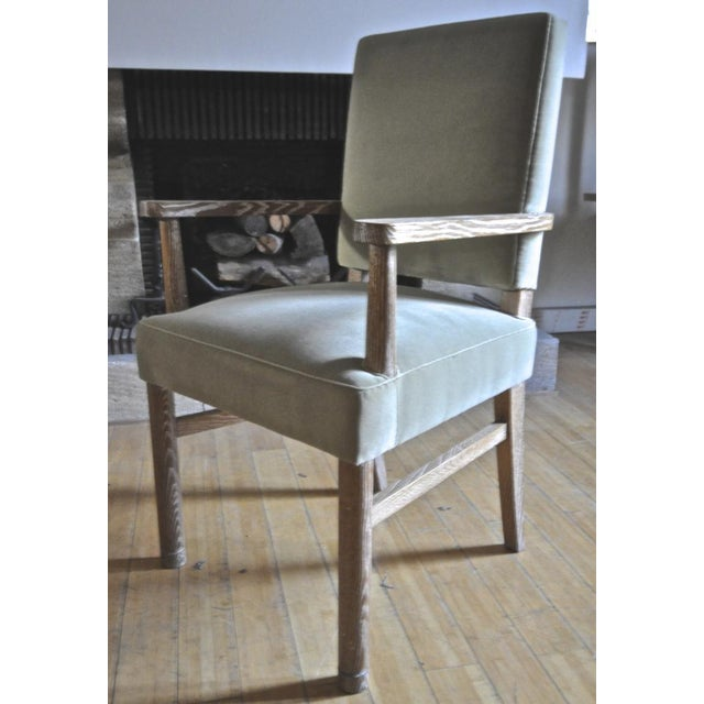 Art Deco Jacques Adnet Set of 4 Cerused Oak Armchairs For Sale - Image 3 of 5