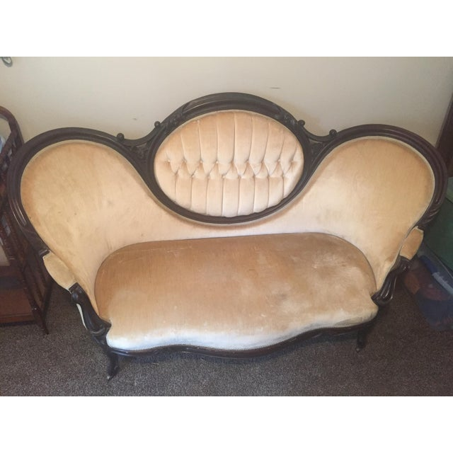 Antique Victorian Cameo Loveseat - Image 2 of 9