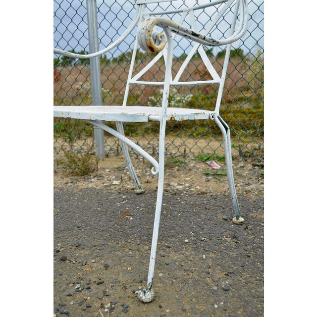 White Vintage Hollywood Regency Wrought Iron Dining Set Chairs Table Salterini Style For Sale - Image 8 of 11