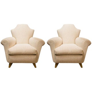 In the Taste of Arbus, Pair of Armchairs in Wood and Fabric, Circa 1940 For Sale