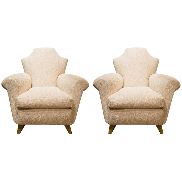 Pair of French Armchairs in Wood and Fabric, Circa 1940 For Sale