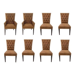 Vintage Style Leather Tufted Rust Brown Transitional Dining Chairs Set of Eight For Sale
