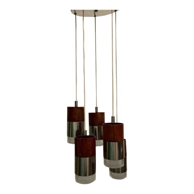 Chrome and Faceted Glass Five-Pendant Light Fixture - Image 1 of 4