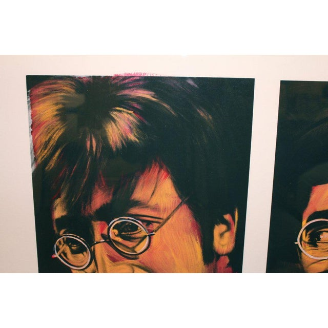A painting on a silkscreen signed Ron English of John Lennon and Groucho Marx.This piece would look great in an...