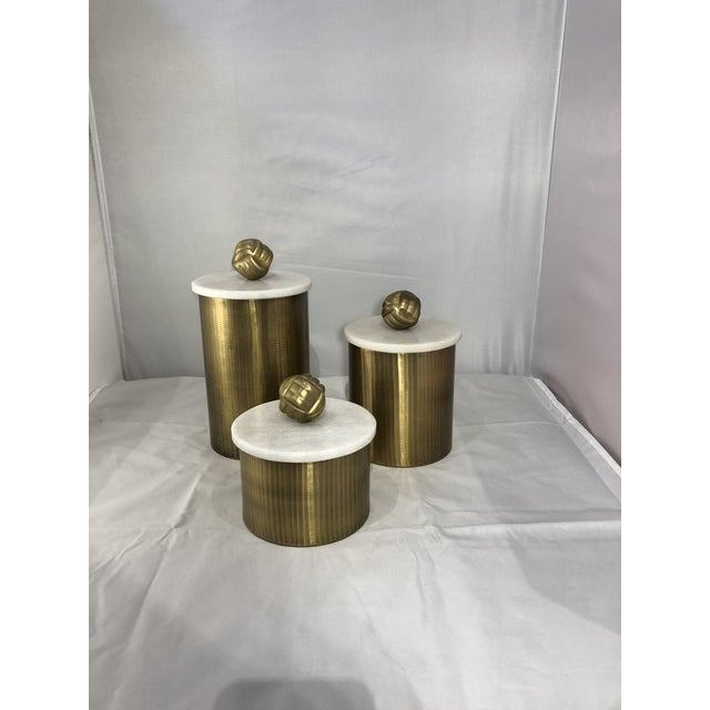 Brass Canisters With Marble Lids - Set of 3 For Sale In Chicago - Image 6 of 9