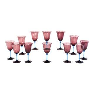 Set of 12 Steuben Handblown Amethyst Optic Rib Goblets with Celeste Blue Stem For Sale