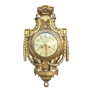 19th Century Swedish Giltwood Wall Clock ~ Cartel For Sale