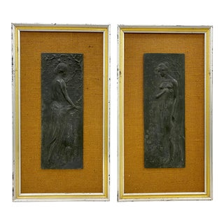 "Pair of Mid Century ""Spring and Autumn"" Framed Art Nouveau Plaques C.1960 For Sale"
