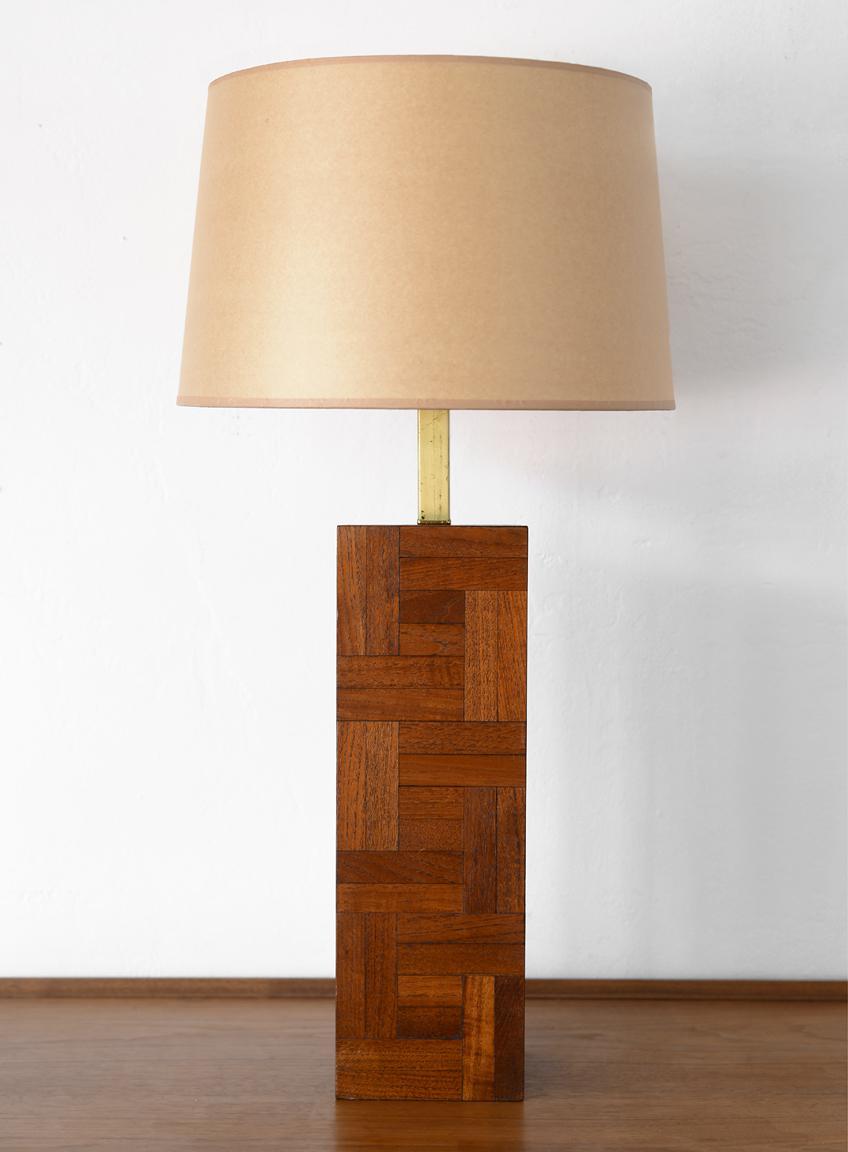 Danish Modern Milo Baughman Style Teak Block Table Lamp Chairish