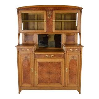 1910s Vintage French Art Nouveau China Cabinet For Sale