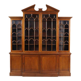 George III Mahogany Breakfront Bookcase For Sale
