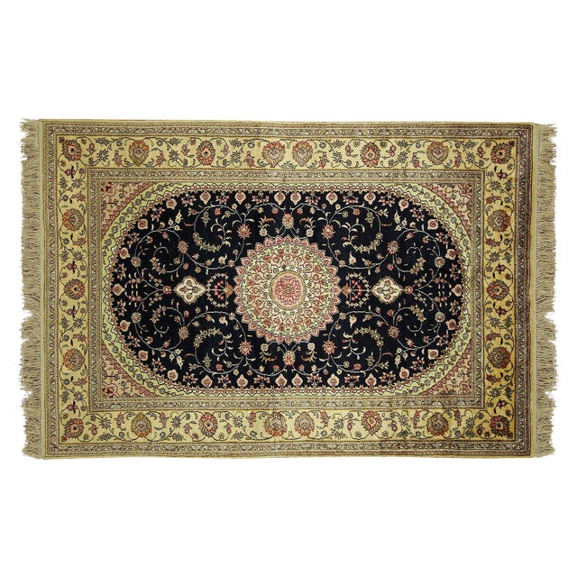 Kashan Silk Midnight Blue-Ivory Rug - 4' x 6' - Image 1 of 8