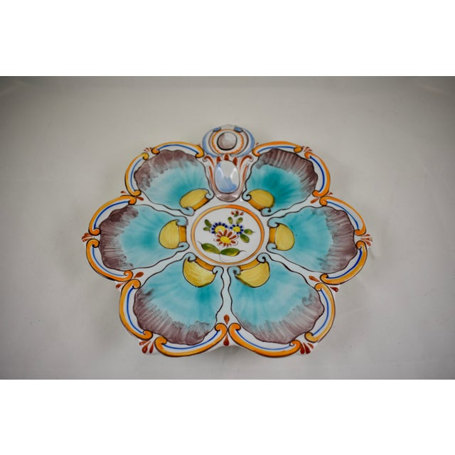French St. Clément French Faïence Turquoise Floral Oyster Plate For Sale - Image 3 of 12
