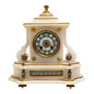 Late 19th Century Japy Freres French Alabaster Mantel Clock For Sale