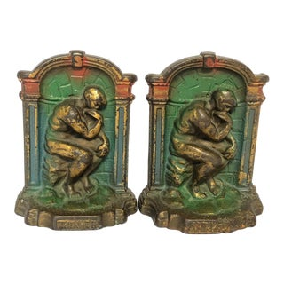 "1920's Art Deco Cast Metal ""The Thinker"" Bookends - a Pair For Sale"