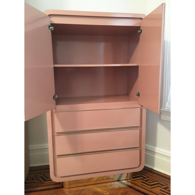 Pink Modern Rose Pink Laminate Armoire With Brass Base For Sale - Image 8 of 12
