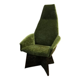 Adrian Pearsall Green Velvet High Back Chair For Sale