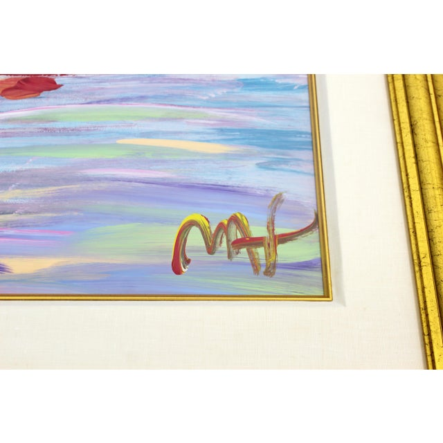 Peter Max Contemporary Modern Framed Peter Max American Sunset Signed Acrylic Painting For Sale - Image 4 of 7