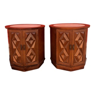 Mid Century Round Storage End Tables With Travertine Top - a Pair For Sale