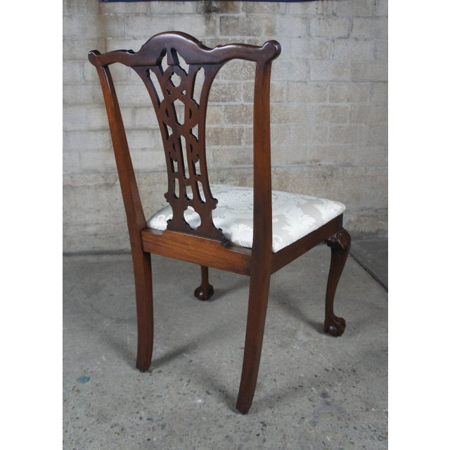 Chippendale Style Ribbon Back Dining Chairs Ball & Claw Side Accent - a Pair For Sale - Image 12 of 13