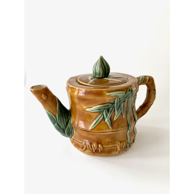 Late 20th Century Vintage Ceramic Teapot With Bamboo Relief Carving For Sale - Image 5 of 13