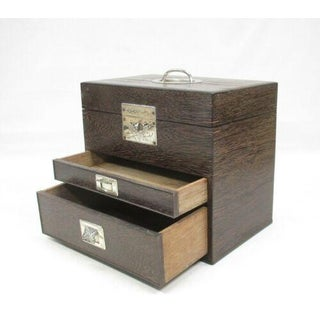 Ip Japanese Doctor's Bag Leather Wood Chest of Drawers Metail Travel Small Tansu Antique Preview