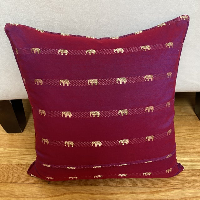 Magenta Thai Silk Pillow With Elephant Motifs For Sale - Image 9 of 12