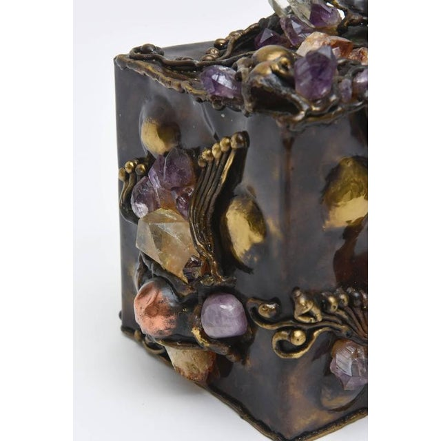 1970s Brutalist Sculptural Mixed Metal and Amethyst, Quartz Tissue Box/ SAT.SALE For Sale - Image 5 of 10