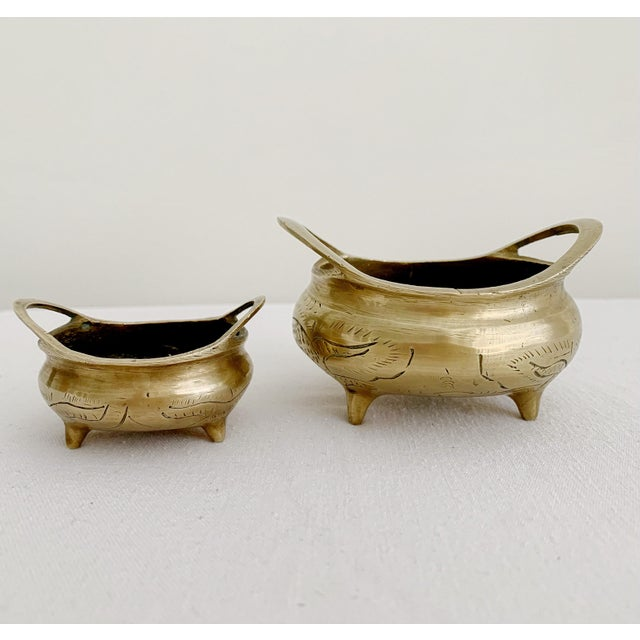 Vintage Chinese Brass Couldron Pots Set of 2 For Sale - Image 13 of 13