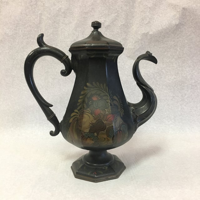English Folk Art Toleware Pitcher For Sale - Image 10 of 10