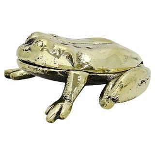 Antique English Brass Frog Match Holder For Sale