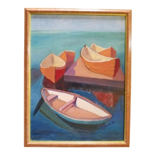 "Acrylic on Canvas ""Canoes"" by L. Frum, 1990s"