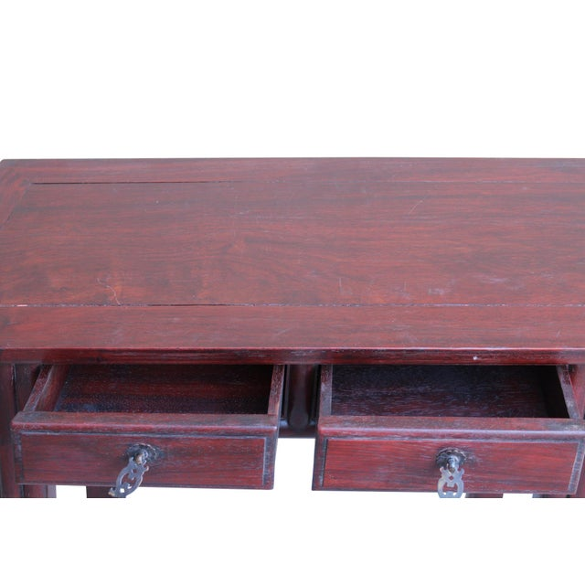 Chinese Low Small Reddish Brown Huali Rosewood Plant Stand Side Table For Sale In San Francisco - Image 6 of 7