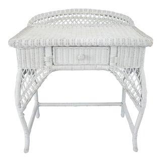 1970s Vintage Bohemian White Wicker Rattan Vanity Table For Sale