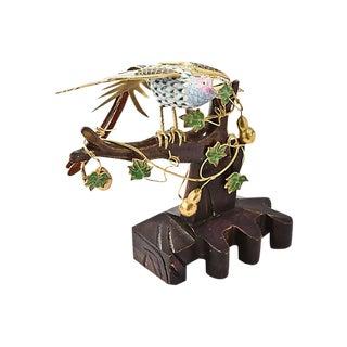 Gilt Cloisonné Enamel Bird & Wood Branch Figurine For Sale