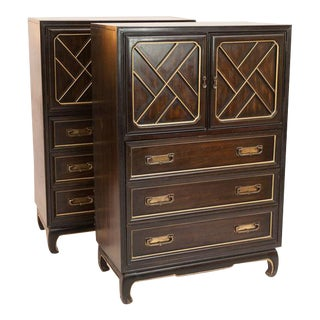 American of Martinsville Chinoiserie Highboy Dressers - a Pair