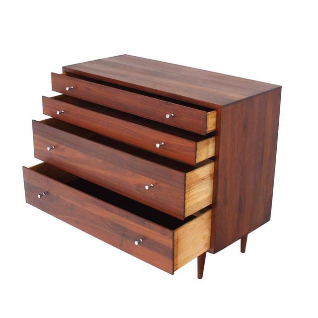 Mid-Century Modern Solid Walnut Four-Drawer Dresser For Sale In New York - Image 6 of 7
