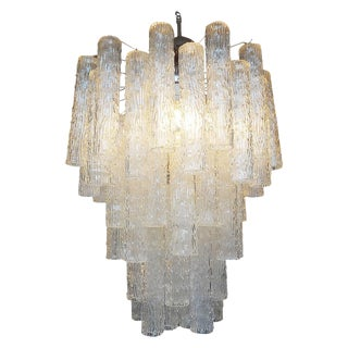 1960s Art Deco Venini StyleMurano Glass Tronchi Chandelier For Sale