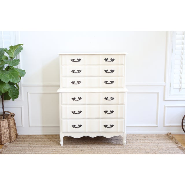 Shabby Chic French Provincial Highboy Dresser - Image 2 of 6