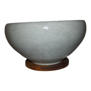 Korean Celadon Floral Porcelain Deep Bowl Signed For Sale