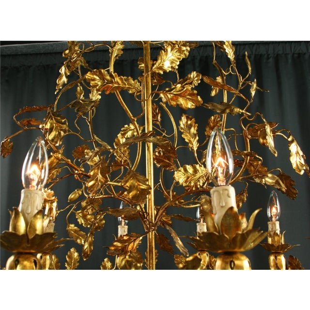 Gold Italian Golden Metal Chandelier For Sale - Image 8 of 8
